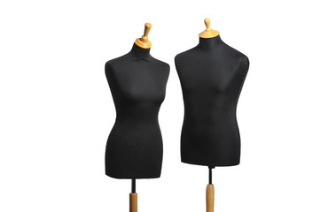 Male and female unclothed mannequin torso template isolated on w