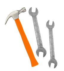Hammer and wrenches isolated on white