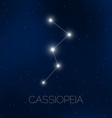 Cassiopeia constellation in night sky
