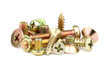 A small assortment of bronze-colored screws