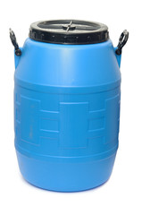 Blue plastic barrel isolated on white