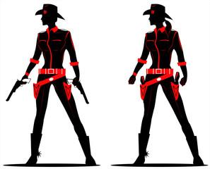 full body sihouette of beautiful cowgirl with gun