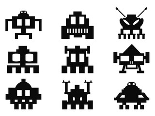 space invaders icons set - pixel monsters