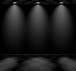 Black empty room with checkered floor