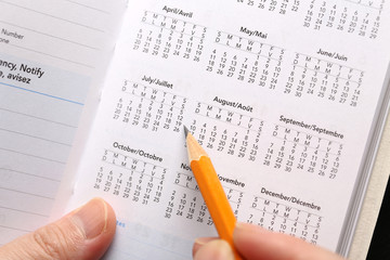 Checking important date on calendar