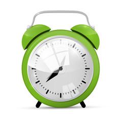 Green Alarm Clock Illustration Isolated on White Background