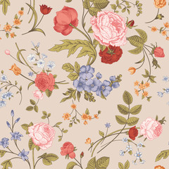 Seamless floral vector classic pattern