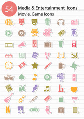 Entertainment icons,Colorful version,vector