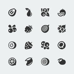 Vector fruits and berries mini icons set #2