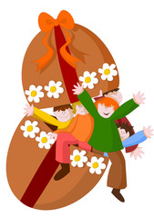 bambini che escono dall'uovo di Pasqua