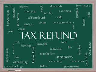 Tax Refund Word Cloud Concept on a Blackboard