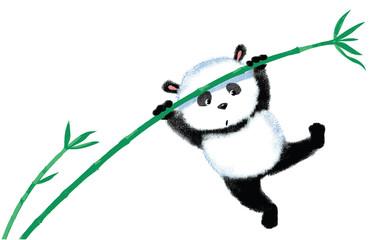 Jumping Panda on bamboo