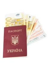 Ukrainian passport with euro