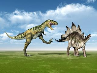 Die Dinosaurier Bistahieversor und Stegosaurus