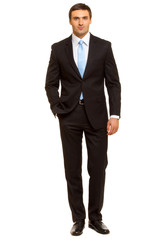 Well-dressed man in suit and tie. Charismatic businessman