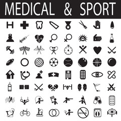 sport and medical icons