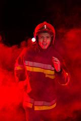 Shouting fireman in smoke.