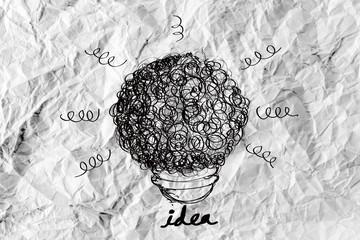 idea concept light bulb on crumpled paper