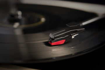 needle on a record player
