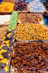 Nuts in shop in La Boqueria Market at Barcelona