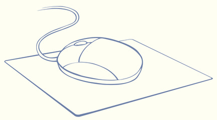 Vector monochrome illustration. Computer mouse on mat