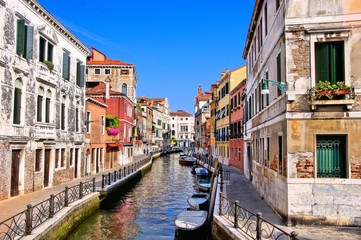 Beautiful view down the canals of Venice, Italy