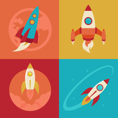 Vector icons in flat style - start up and launch