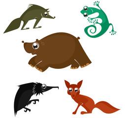 Cartoon funny animals set for design 6