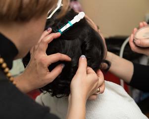 Women's hair in salon