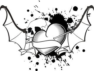 heart winged bat tattoo vector