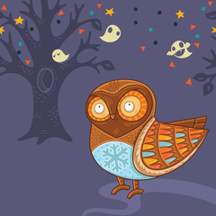 Cute cartoon owl in the night forest with ghosts