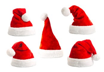 Set of santa hat isolated on white