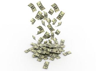 Falling dollars. Dollar rain