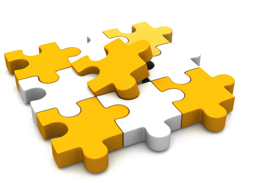 colorful puzzle pieces.