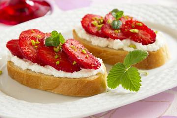 bruschetta with ricotta and strawberries.
