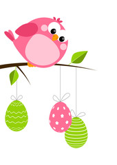 Funny bird with Easter eggs