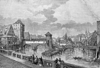 Nuremberg, gravure ancienne de Catenacci 1864