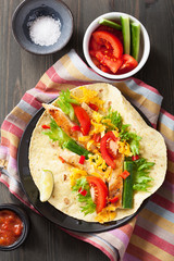 mexican tortilla with chicken breast and vegetables