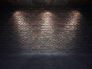 Old brick wall illuminated by spotlights