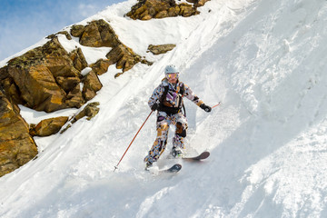 Skiing on a very steep slope
