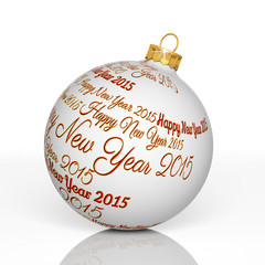 Happy new year 2015 written on Christmas ball