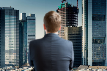 Businessman looking at skyline