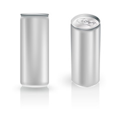 metal aluminum beverage drink can in two positions