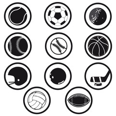 sports icons black and white vector