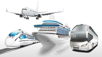 Flugzeug, Schnellzug, Schiff, Bus, Personenbeförderung
