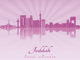 Jeddah skyline in purple radiant orchid
