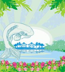 beautiful koi carp fish illustration