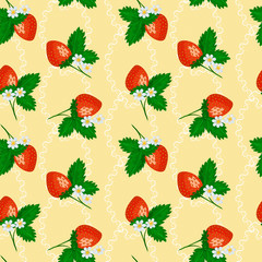 Seamless pattern with strawberry on light yellow