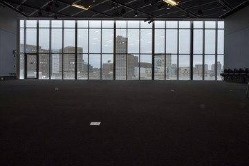 looking at bostons skyline from inside