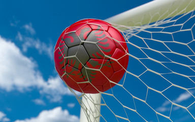 Flag of Albania and soccer ball in goal net